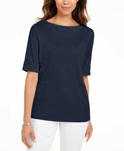 ケレンスコット レディース シャツ トップス Plus Size Cotton Elbow-Sleeve Top Intrepid Blue