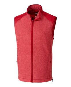 カッターアンドバック メンズ ニット・セーター アウター Cutter and Buck Men's Big and Tall Cedar Park Full Zip Sweater Vest Red