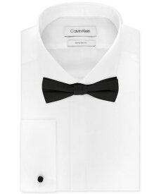 カルバンクライン メンズ シャツ トップス X Men's Extra-Slim Fit Formal White French Cuff Tuxedo Dress Shirt & Pre-Tied Solid Bow Tie Set White