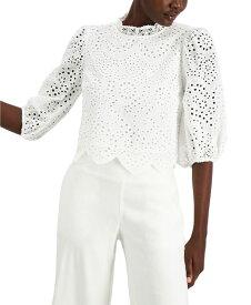 アイエヌシーインターナショナルコンセプト レディース シャツ トップス INC Cotton Lace Puff-Sleeve Blouse Bright White