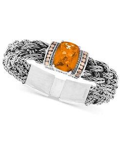 エフィー レディース ブレスレット・バングル・アンクレット アクセサリー EFFY Citrine (9-1/6 ct. t.w.) & Diamond (1/10 ct. t.w.) Woven Bracelet in Sterling Silver & 18k Rose Gold Silver/gol