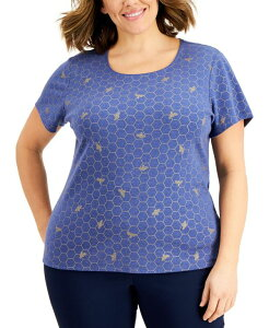 ケレンスコット レディース シャツ トップス Plus Size Bumble Printed Top Galaxy Blue Heather