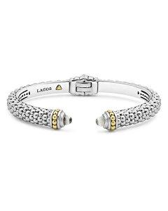 ラゴス レディース ブレスレット・バングル・アンクレット アクセサリー Sterling Silver & 18K Yellow Gold Slim Caviar Cuff Bracelet with White Topaz White/Silver
