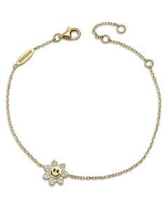 バウブルバー レディース ブレスレット・バングル・アンクレット アクセサリー Felice Cubic Zirconia Smiling Daisy Link Bracelet in 18K Gold Plated Sterling Silver Gold
