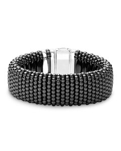 ラゴス レディース ブレスレット・バングル・アンクレット アクセサリー Black Caviar Ceramic 18K Gold and Sterling Silver Statement Bracelet Black/Silver