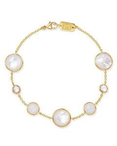 イッポリスタ レディース ブレスレット・バングル・アンクレット アクセサリー 18K Yellow Gold Lollipop Clear Quartz White Moonstone & Clear Quartz over Mother-Of-Pearl Seven-Stone Link Bracelet White/Gold