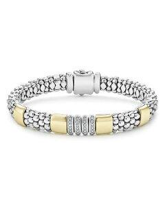 ラゴス レディース ブレスレット・バングル・アンクレット アクセサリー Sterling Silver & 18K Yellow Gold Caviar Diamond Link Bracelet - 100% Exclusive Silver