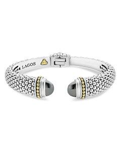 ラゴス レディース ブレスレット・バングル・アンクレット アクセサリー 18K Gold and Sterling Silver Caviar Color Hematite Cuff Bracelet 12mm Dark Gray/Silver