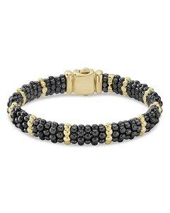 ラゴス レディース ブレスレット・バングル・アンクレット アクセサリー 18K Yellow Gold & Black Ceramic Beaded Station Bracelet Black/Gold