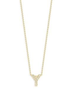 ロバートコイン レディース ネックレス・チョーカー アクセサリー 18K Yellow Gold and Diamond Initial Love Letter Pendant Necklace 16 Y