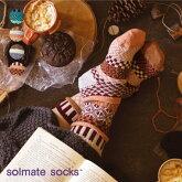 《メール便可3足まで》solmatesocksソルメイトソックスクルーソックスMEADOWCrewsocks靴下アシンメトリ—ソックス