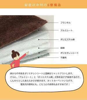 ラグこたつ敷き布団正方形あったか仕様6層タイプブラウン約190×190cm