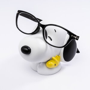 スヌーピーのかわいい眼鏡置き 両面テープ付きなので車でも飾れる メガネスタンド スヌーピー ホワイト