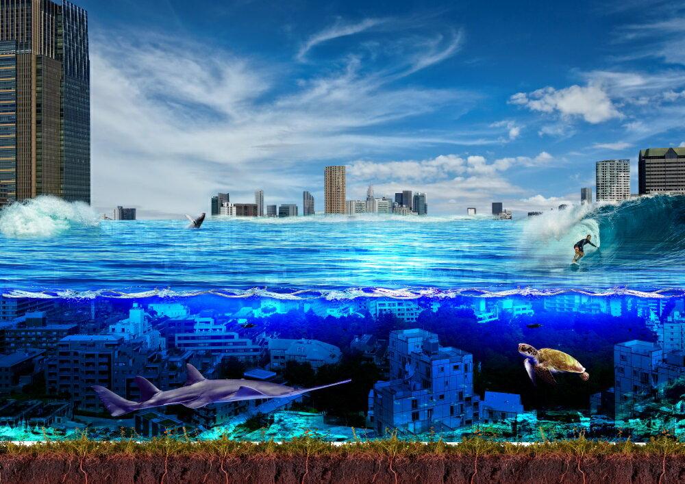 絵画風 壁紙ポスター (はがせるシール式) 水中都市 海底都市 サーフィン ダイビング 海 キャラクロ DVG-019A1 (A1版 830mm×585mm) 建築用壁紙+耐候性塗料 インテリア