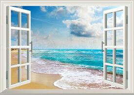 絵画風 壁紙ポスター (はがせるシール式) -窓の景色- 波 波と雲とエメラルドグリーンの海 カリブ海 ビーチ 癒し 【窓仕様/トリックアート】 キャラクロ SWAV-004MA2 (A2版 594mm×420mm) 建築用壁紙+耐候性塗料