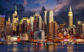絵画風 壁紙ポスター (はがせるシール式) ニューヨークのベイサイド夜景 マハッタンの夜景 キャラクロ NYK-020W2 (ワイド版 603mm×376mm) 建築用壁紙+耐候性塗料 インテリア