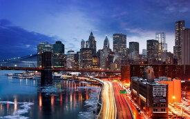 絵画風 壁紙ポスター (はがせるシール式) ブルックリン橋とニューヨーク湾岸の夜景 マンハッタン キャラクロ NYK-021W2 (ワイド版 603mm×376mm) 建築用壁紙+耐候性塗料 インテリア