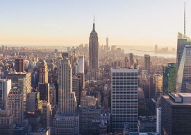 絵画風 壁紙ポスター (はがせるシール式) ニューヨーク マンハッタン エンパイヤーステートビル キャラクロ NYK-007A1 (A1版 830mm×585mm) 建築用壁紙+耐候性塗料 インテリア