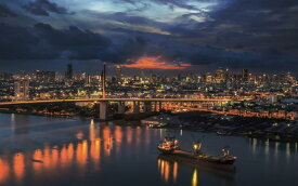 絵画風 壁紙ポスター (はがせるシール式) バンコクの夜景 クルンテープマハナコーン 曼谷 タイ王国 キャラクロ BNGK-002W2 (ワイド版 603mm×376mm) 建築用壁紙+耐候性塗料 インテリア