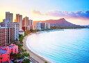 絵画風 壁紙ポスター (はがせるシール式) ハワイ 夕陽のワイキキビーチ サンセットビーチ オアフ島 リゾート キャラ…