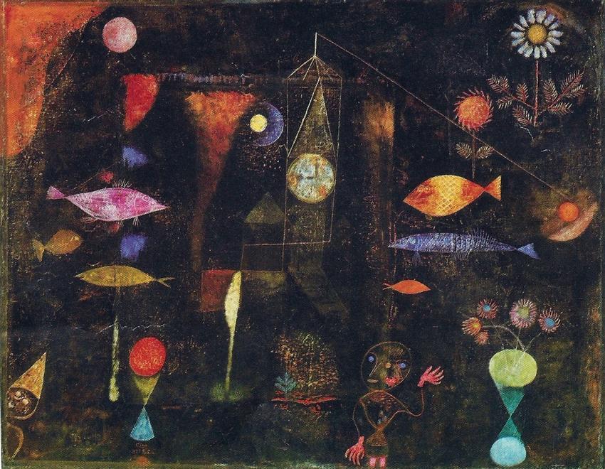 絵画風 壁紙ポスター(はがせるシール式) パウル・クレー Fish Magic (Large Fish Picture) 1925年 表現主義 抽象絵画 キャラクロ K-KLE-005S1 (753mm×585mm) 建築用壁紙+耐候性塗料 インテリア