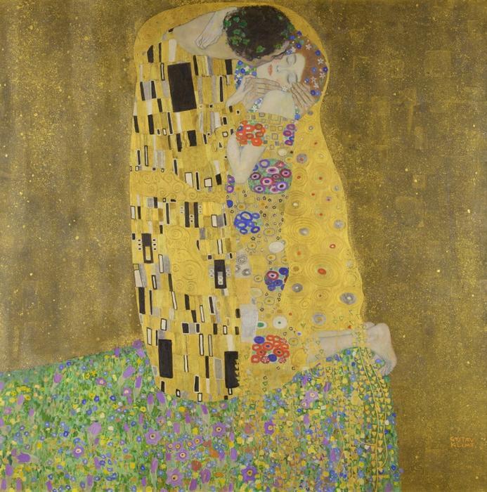 【売れ筋】絵画風 壁紙ポスター (はがせるシール式) グスタフ・クリムト 接吻 1907-1908年 The Kiss オーストリア・ギャラリー キャラクロ K-KLT-003S1 (594mm×600mm) 建築用壁紙+耐候性塗料 インテリア