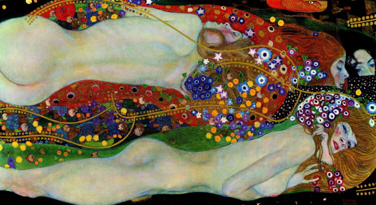 【売れ筋】絵画風 壁紙ポスター (はがせるシール式) グスタフ・クリムト 水蛇 II 1907年 Water Snakes II プライベートコレクション キャラクロ K-KLT-010S2 (603mm×328mm) 建築用壁紙+耐候性塗料 インテリア