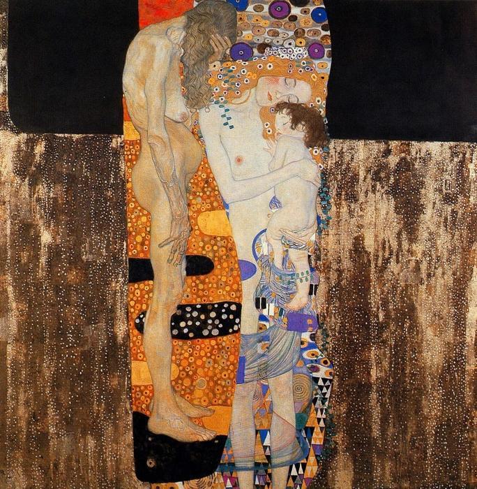 【売れ筋】絵画風 壁紙ポスター (はがせるシール式) グスタフ・クリムト 人生の三段階(女の生の三段階) 1905年 ローマ 国立近代美術館 キャラクロ K-KLT-007S1 (594mm×607mm) 建築用壁紙+耐候性塗料 インテリア