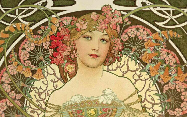 【売れ筋】絵画風 壁紙ポスター (はがせるシール式) アルフォンス・ミュシャ 夢想 アップ 1898年 堺市蔵 キャラクロ K-MCH-008S2 (603mm×376mm) 建築用壁紙+耐候性塗料