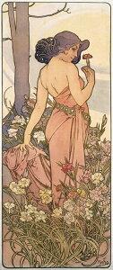 絵画風 壁紙ポスター (はがせるシール式) アルフォンス・ミュシャ 四つの花-カーネーション- 1897年 花 4部作 4-flowers アールヌーヴォー キャラクロ K-MCH-043S1 (576mm×1377mm) 建築用壁紙+耐