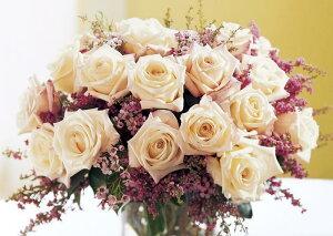 絵画風 壁紙ポスター (はがせるシール式) 白いバラ ブーケ 白薔薇 ハイブリッド・ティー モダンローズ 花 キャラクロ FROS-021A1 (A1版 830mm×585mm) 建築用壁紙+耐候性塗料 インテリア