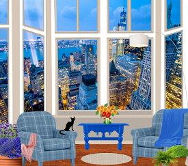 絵画風 壁紙ポスター (はがせるシール式) 窓 窓の景色 窓枠 ニューヨーク 景色 キャラクロ WND-008S1 (664mm×585mm) 建築用壁紙+耐候性塗料 インテリア