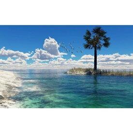 絵画風 壁紙ポスター (はがせるシール式) カモメと雲とヤシの木 ビーチ ニューカレドニア 海 キャラクロ BCH-040W1 (ワイド版 921mm×576mm)