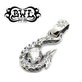 【Bill Wall Leather/ビルウォールレザー】ペンダント/PN987:10' Fish Hook w/Stone(クリアジルコニア)★REAL DEAL