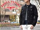 """【SKULL FLIGHT/スカルフライト】ライトジャケット/RIDERS STRETCH DENIM G JACKET """"BLACK"""":ワッペン・シンチバック付…"""