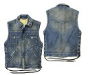 "【SKULL FLIGHT スカルフライト】ベスト/DENIM CLUB ZIP VEST ""FULL COLLAR""DAMAGE INDIGO SFV19-0..."