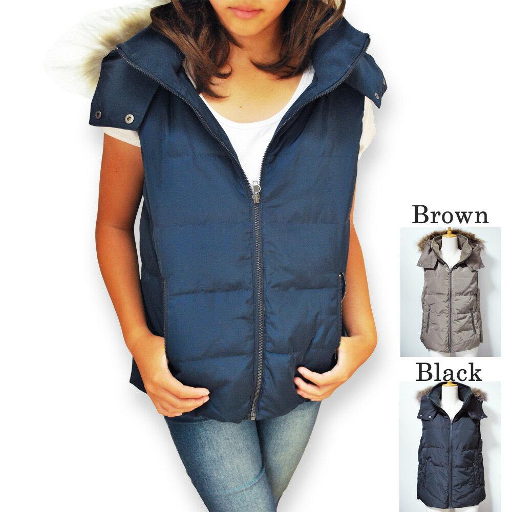 ダウンベスト レディース ダウンジャケット 暖か ダウン50% フェザー50% 防寒 ブラウン ネイビー ブラック ダウンベストレディース ノースリーブ 秋 アウター