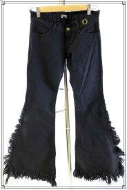 【ワケあり新古品】L.G.B(ルグランブルー)フリンジデザイン ブラックパンツ 25【中古】