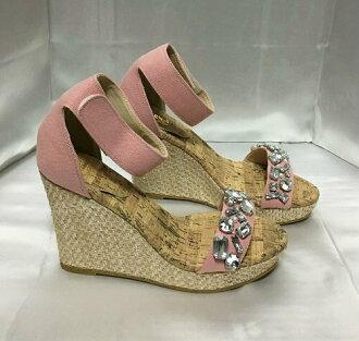 ESPERANZA wedge sole sandals bijou decoration pink L(24cm)
