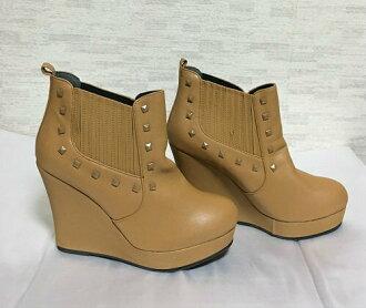 [ESPERANZA wedge sole bootie brown studs decoration L (24cm - 24.5cm)