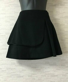 LE CIEL BLEU【ルシェルブルー】レイヤードウールミニスカート40黒【中古】