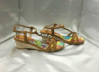 ESPERANZA strap sandals bijou decoration camel M(23cm)