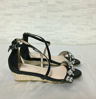 ESPERANZA cross strap sandals bijou decoration black S(22.5cm)