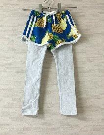 【新古品】Peach&cream【ピーチアンドクリーム】韓国子供服パイン柄レイヤードパンツブルー7(100cm)【中古】