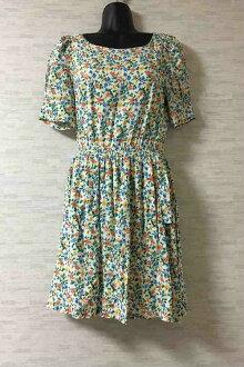 MERCURYDUO short sleeves floral design knee-length dress blue system F