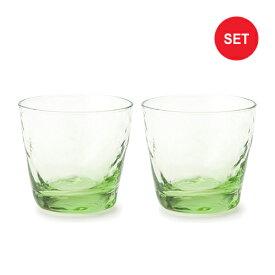 美しい淡いグリーンの玄武ガラス ペアセット