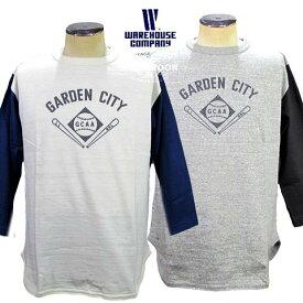 """WAREHOUSE 7/10 BASEBALL TEE ウエアハウス 七分袖ベースボールT""""GARDEN CITY"""""""