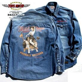 "TOYS McCOY McHILL RANCHWEARWESTERN WESTERN SHIRT DENIMMARILYN MONROE""WILD HORSES""Style No.TMS1906"
