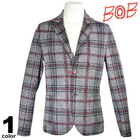 SALE 30%OFF ボブ BOB 長袖 ジャケット メンズ 秋冬 チェック ウール ロゴ 98-4101-59