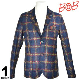 SALE 30%OFF ボブ BOB 長袖 ジャケット メンズ 秋冬 チェック ウール インポート ロゴ 98-4103-59